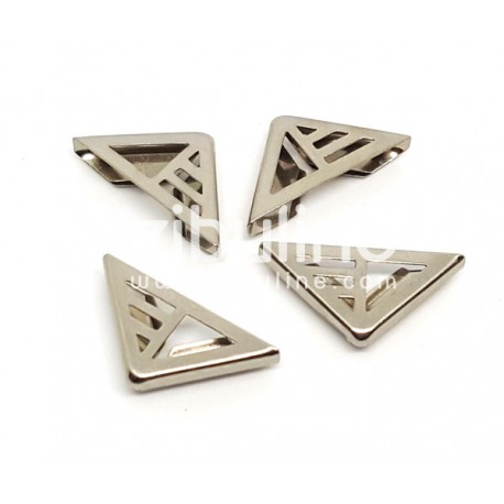 "Coins métal - ""Triangle ajourés rayé"" argentés"