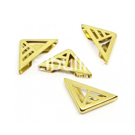 """Coins métal - """"Triangle ajourés rayé"""" dorés"""