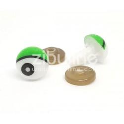 Yeux de sécurité - Rond blanc / vert 11 mm