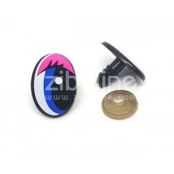 Yeux de sécurité - Oval noir / rose / bleu 14x20 mm