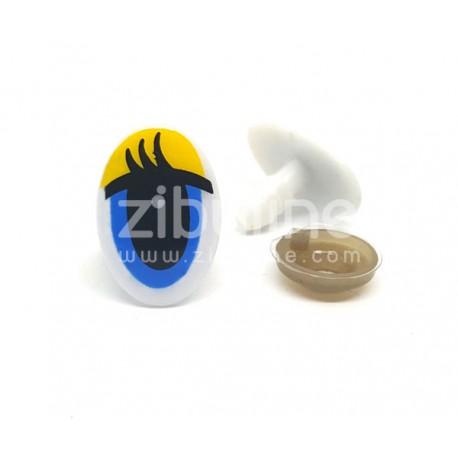Yeux de sécurité - Oval jaune / bleu 13x19 mm