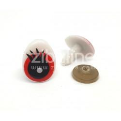 Yeux de sécurité - Oval rouge / blanc 18x28 mm