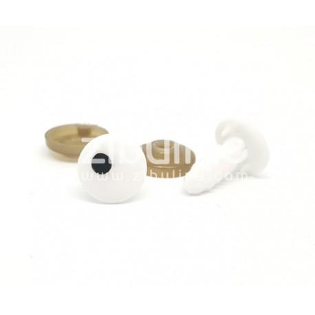 Yeux de sécurité - Rond blanc pupille point noir 11 mm