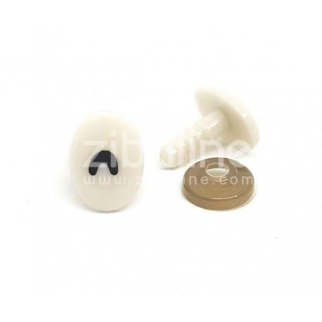 Yeux de sécurité - Oval blanc pupille arc 11x16 mm