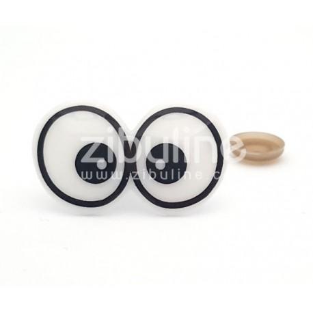 Yeux de sécurité - Doubles blanc contour noir 24x40 mm