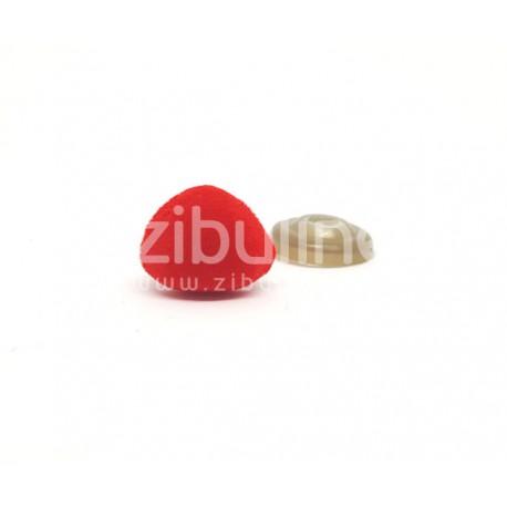 Nez de sécurité - Rouge aspect suédine 14x12 mm