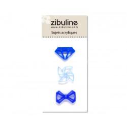 Sujets acryliques - Diamant / moulin / noeud bleu