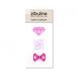 Sujets acryliques - Diamant / moulin / noeud rose / parme