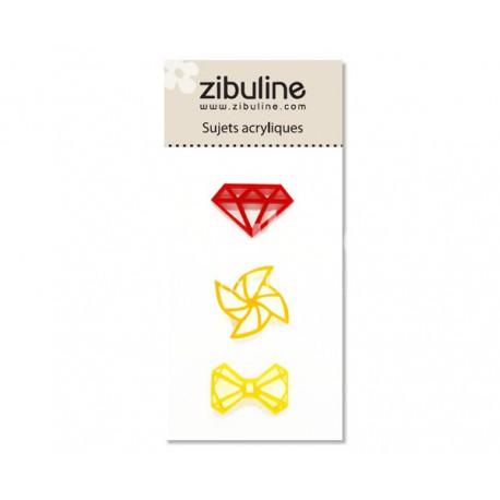 Sujets acryliques - Diamant / moulin / noeud rouge / jaune
