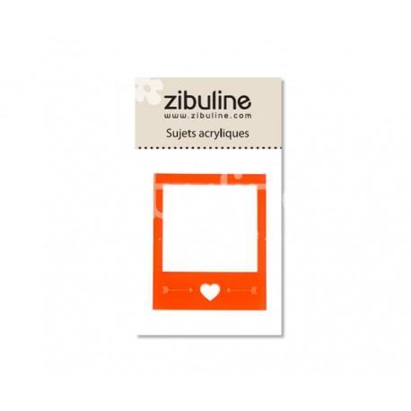 Sujets acryliques - Polaroïd coeur orange