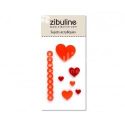 Sujets acryliques - Cœurs rouge