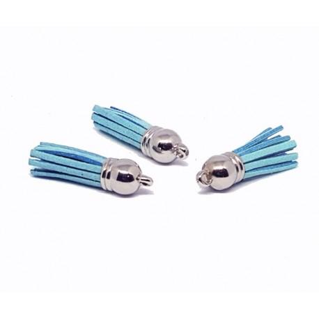 Pompon suédine - Bleu ciel