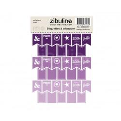 Etiquettes à découper - Les fanions Violet