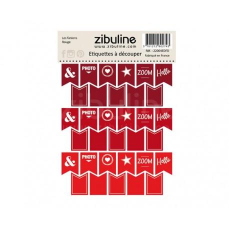 Etiquettes à découper - Les fanions Rouge