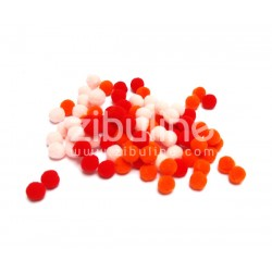 Mini pompons boules - Rouge-orange