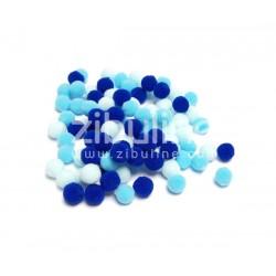 Mini pompons boules - Bleu