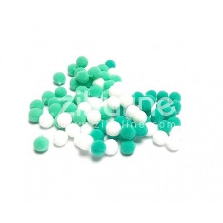 Mini pompons boules - Turquoise-mint