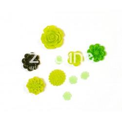 Fleurs en résine - Vert