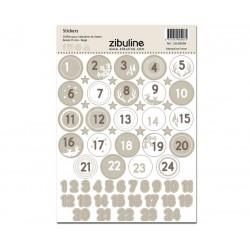 Stickers - Chiffres calendrier de l'avent - Beige