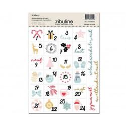 Stickers - Chiffres calendrier de l'avent - En attendant Noël