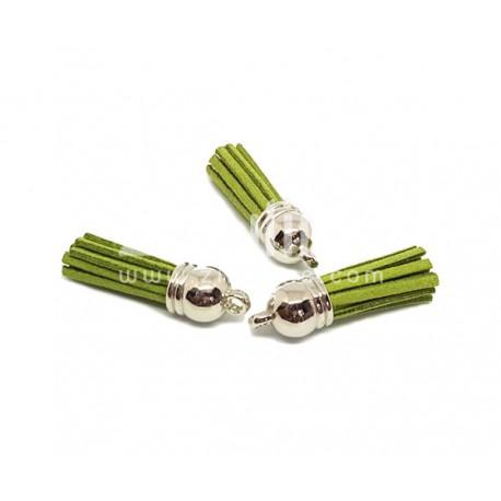 Pompon suédine - Vert olive